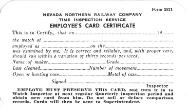 NNRy Time Inspection Service Employee's Card Certificate