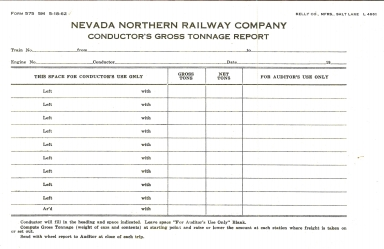 Conductor's Gross Tonnage Report
