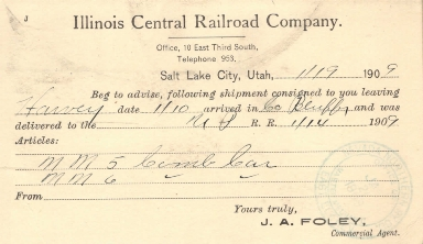 Illinois Central Delivery Postcard
