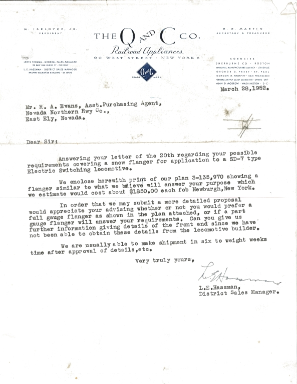 Q and C Co. Letter