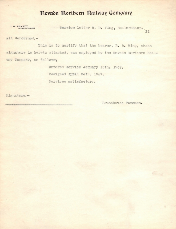 Service Record-R.D. Wing