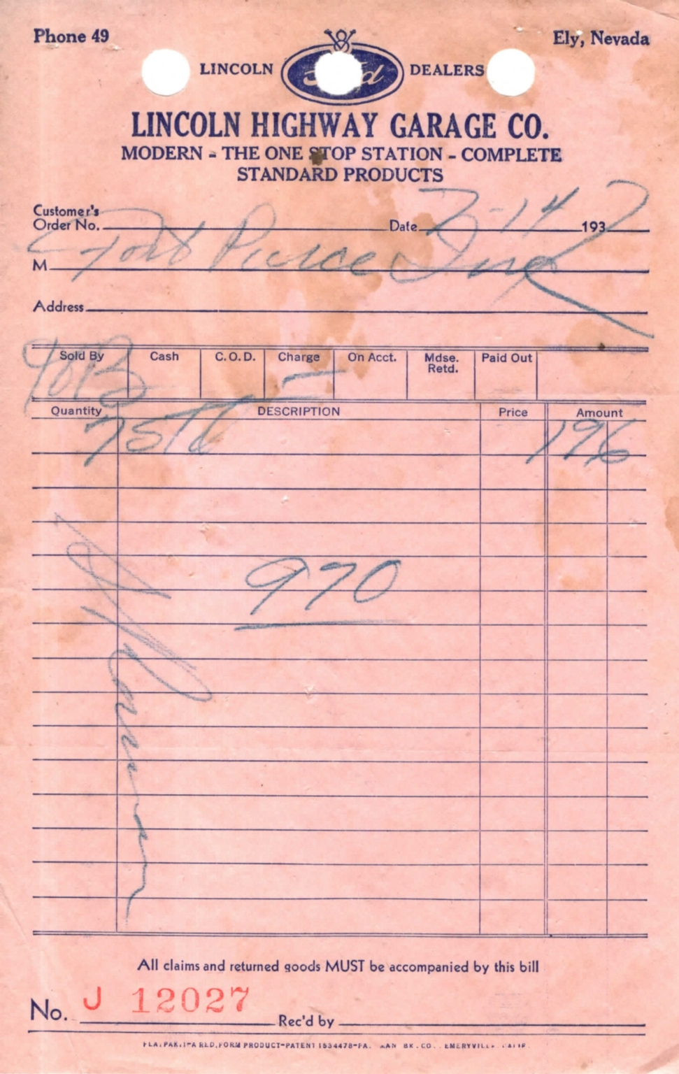 Invoice-Lincoln Highway Garage Co.