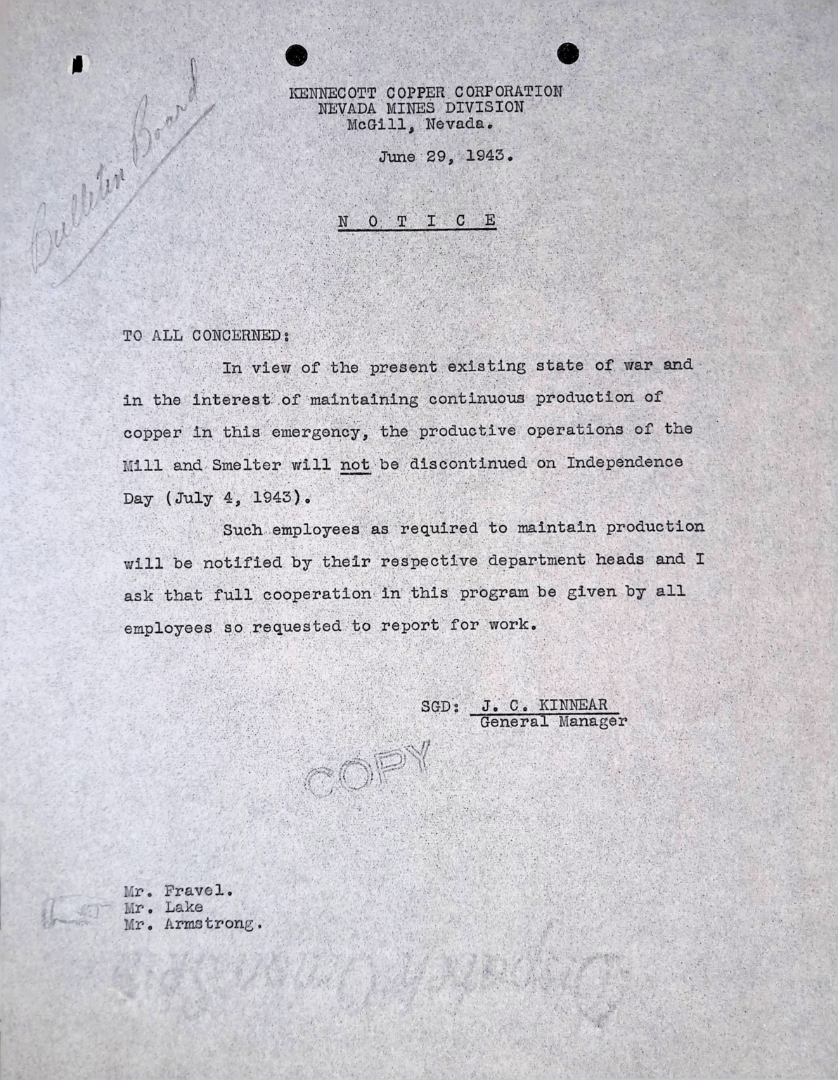 Notice-Independence Day 1943